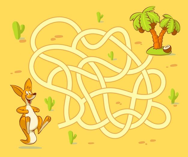 カンガルーの子がヤシへの道を見つけるのを手伝ってください。ラビリンス。子供向けの迷路ゲーム