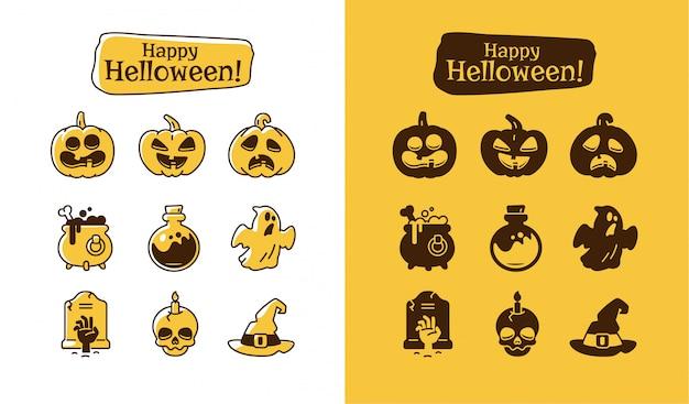 Набор иконок хэллоуин. праздник пиктограмм коллекция тыквы, призрак, волшебная шляпа, горшок, зелье, череп, зомби.