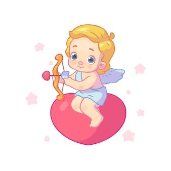 かわいいキューピッドまたは天使は心に座って、白の愛の矢を撃ちます