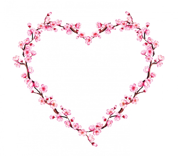 桜の枝、桜と水彩のハート形の花輪。