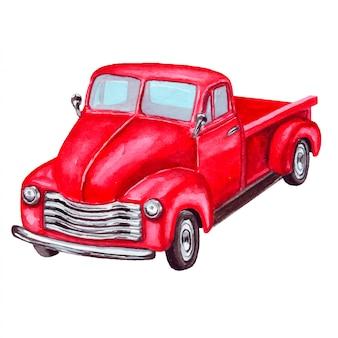 赤いレトロなトラックの水彩イラスト。