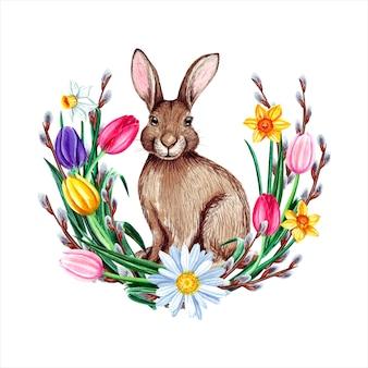 Акварель пасхальный заяц с цветами и вербы.