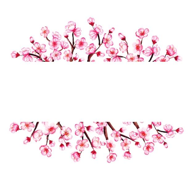 桜の枝、桜の花の水彩画フレーム