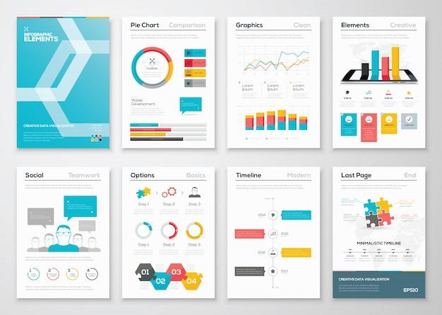 インフォグラフィック・フライヤーおよびパンフレット・デザインおよびウェブ・テンプレート・ベクター