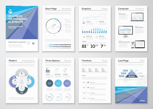 データ視覚化パンフレットおよびインフォグラフィックビジネステンプレート