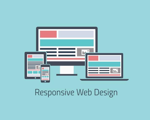 レスポンシブなウェブデザイン開発ベクトルフラットスタイル