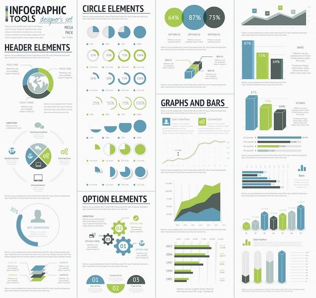 企業データのインフォグラフィックを視覚化するための情報グラフィックス