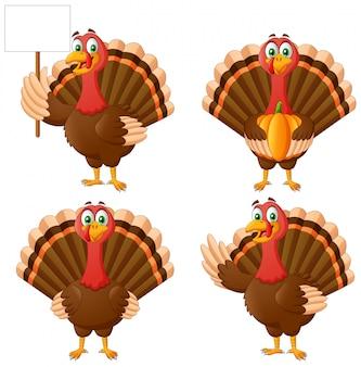 漫画の感謝祭の七面鳥の鳥のマスコットキャラクターのセット