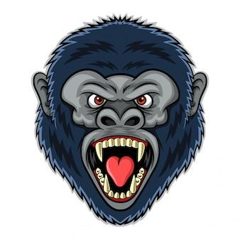 怒っているゴリラの頭イラストのマスコット