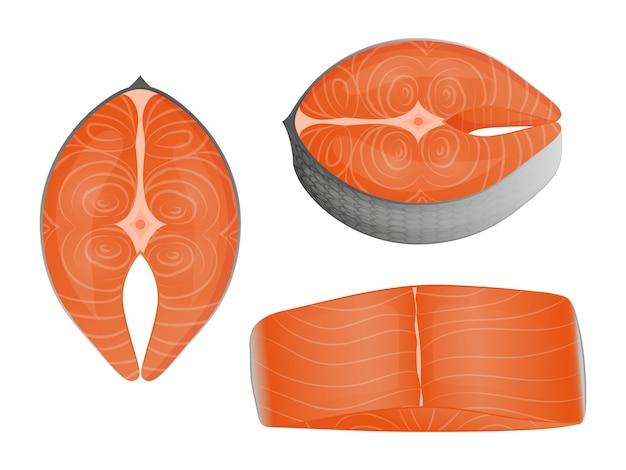Набор ломтиков красной рыбы. объект для упаковки, рекламы, меню. изолированные на белом.