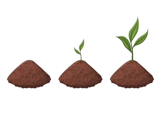 Прорастание ростка. растение растет. изолированный объект на белом фоне. мультяшный стиль