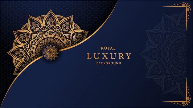 アラベスク黄金装飾スタイルと豪華なマンダラの背景