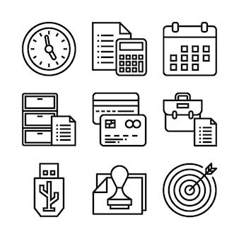 Простой набор офисных связанных векторных иконок линии.