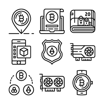 Набор иконок блокчейн