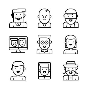 Мужские и женские лица аватары.