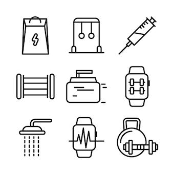 Установленные значки фитнеса и спорта. символы здорового образа жизни.
