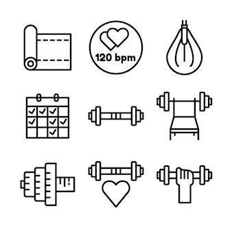 フィットネスとスポーツのアイコンを設定します。健康的なライフスタイルのシンボル。