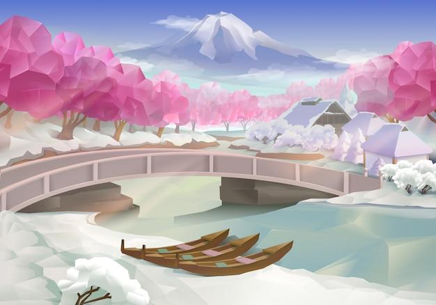 ピンクの木立、風景