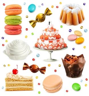お菓子、アイコンのセット