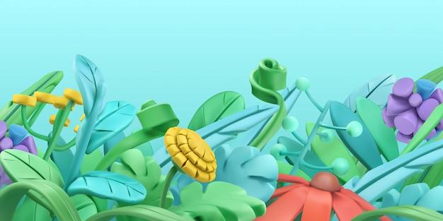 Весенняя трава и цветы. мультяшный стиль