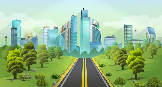 都市と自然、風景