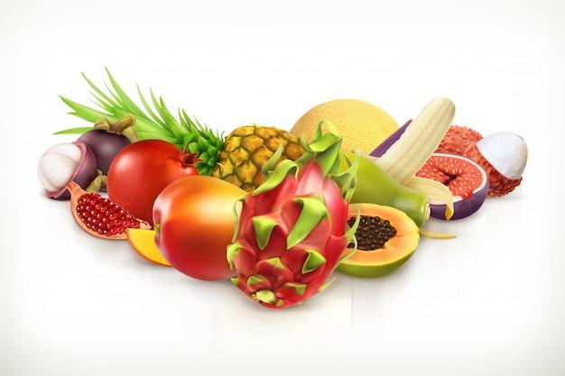 Экзотические фрукты. сочные фрукты и ягоды векторная иллюстрация изолированы