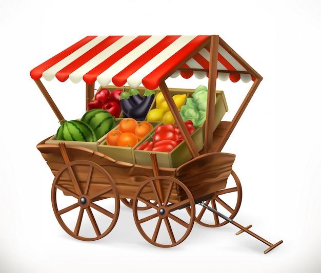 生鮮食品市場。果物と野菜が入ったカート、