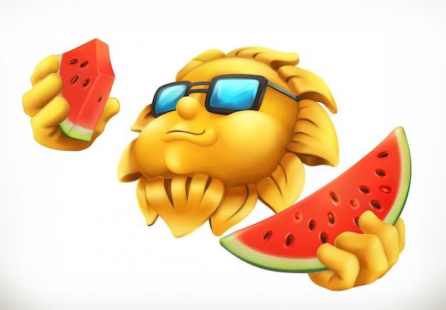 Веселое летнее солнышко с арбузом.