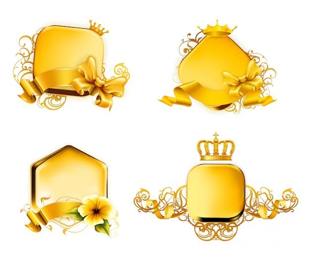 Золотые винтажные рамки, иллюстрация