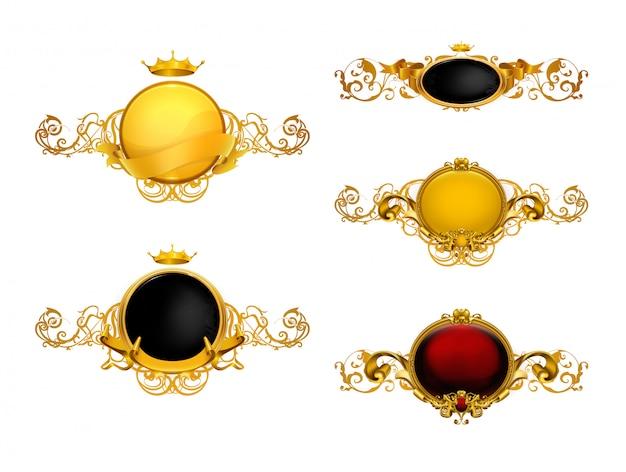 Золотые винтажные рамки, набор
