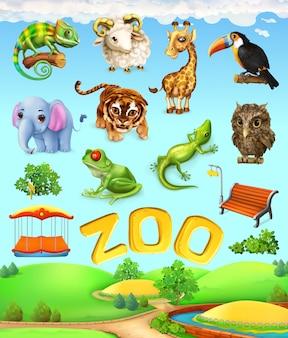 変な動物セット。象、キリン、トラ、カメレオン、オオハシ、フクロウ、羊、カエル