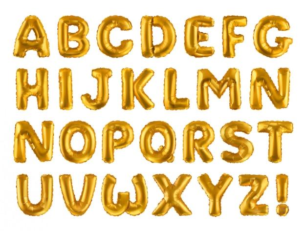 アルファベット。黄金の膨脹可能なおもちゃの風船