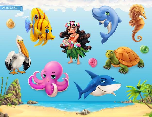 Маленькая девочка с ракушкой. забавные морские животные и рыбы, набор векторов