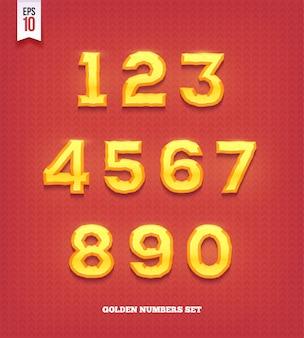 光沢のある金の数字。黄金の書体フォント。