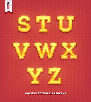 光沢のあるゴールドの文字。黄金の書体フォント。