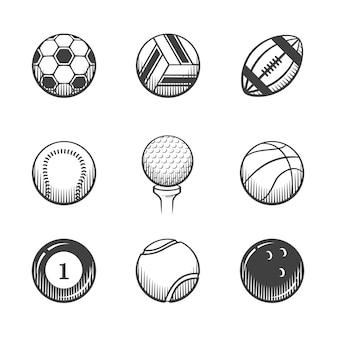スポーツアイコンのコレクション。白い背景の上のスポーツボール。アイコンを設定します。