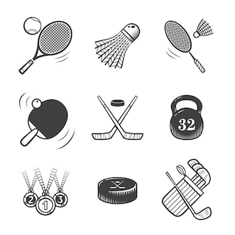 Коллекция спортивных значков. спортивное снаряжение. набор иконок.