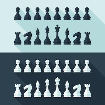 Шахматные фигуры в современном стиле для концепции и веб. иллюстрации.