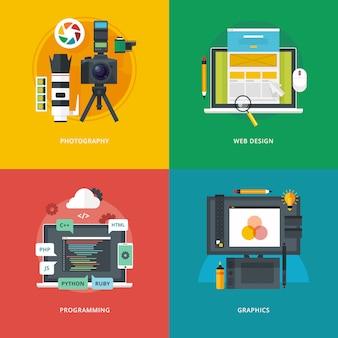 写真、ウェブデザイン、プログラミング、グラフィックのイラスト概念のセット。教育と知識のアイデア。情報技術とデジタルアート。