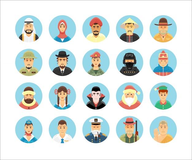 人のアイコンのコレクション。人の職業、ライフスタイル、国、文化を示すアイコンセット。