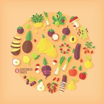 果物や野菜のアイコンのコレクション。モダンなスタイル。