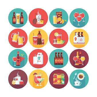 飲み物と飲料のアイコンのコレクション。長い影とフラットベクトルサークルアイコンを設定します。食べ物や飲み物。