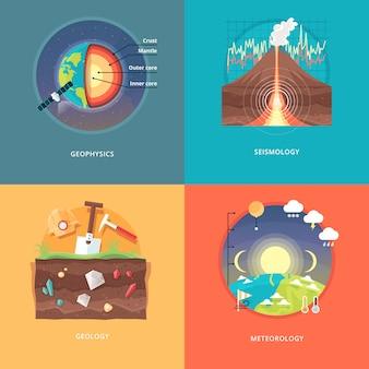教育と科学の概念図。地球物理学、地震学、地質学、気象学。地球と惑星の構造の科学。大気圏現象の知識。 。