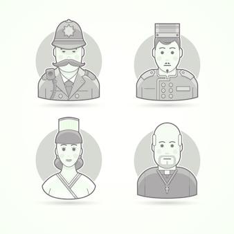 イギリスの警官、ホテルのポーター、料理人の女性、カトリックの司祭。キャラクター、アバター、人のイラストのセットです。黒と白のアウトラインスタイル。