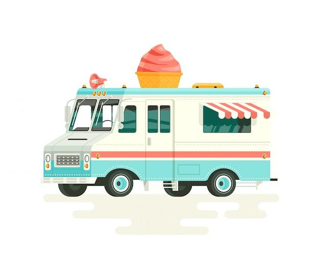 カラフルなアイスクリームトラック。白い背景の上。