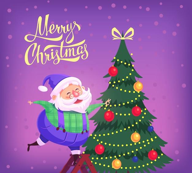 かわいい漫画青いスーツサンタクロースがクリスマスツリーを飾るメリークリスマスイラスト