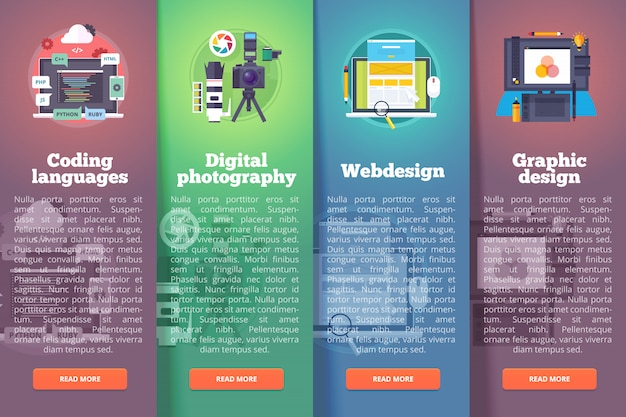 情報技術のバナーを設定します。デジタル写真。プログラミング。ウェブとグラフィック。教育と科学の垂直レイアウトの概念。モダンなスタイル。
