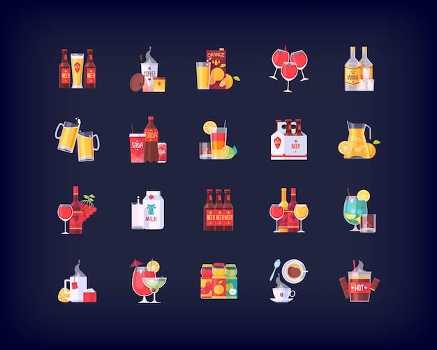飲み物や飲み物のアイコンのセット