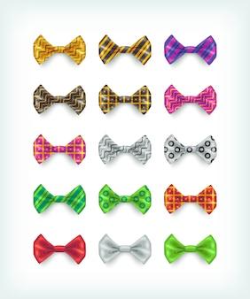 蝶ネクタイのアイコンのコレクション。異なる色とパターンのネクタイイラスト