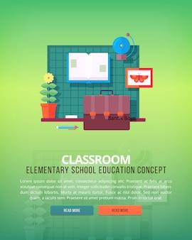 学校のレッスンや教室のイラストの概念のセットです。教育と科学の概念図。